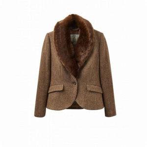 Faux Fur Removable Collar Grey Tweed Blazer